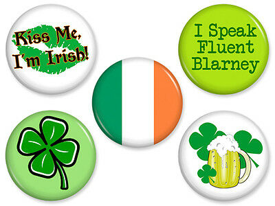 5 ST. PATRICK'S DAY MAGNETS Set #2 Irish Green Beer Shamrock Day Kiss Me Lot