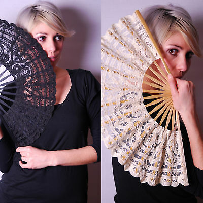 "Renaissance Lace Bamboo Spanish Party Hand Fan 11"" 28cm"