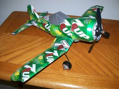 Aluminum soda can handcrafted airplane/7-UP (CORSAIR)