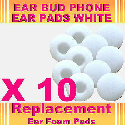 10 x White EarBud EarPhone HeadPhone Foam Sponge Replacement Pads Covers