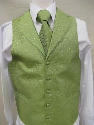 Men's Suit Tuxedo Dress Vest Necktie Bowtie Hanky Set Lime Green Paisley Design