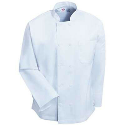 Dickies Hospitality 70305 Cotton Twill Long Sleeve WHITE Chef Coat Jacket XS-5XL