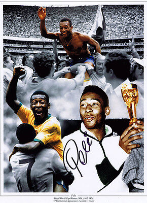 PELE Brazil Football Legend SIGNED 16x12 Photo World Cup Montage AFTAL COA