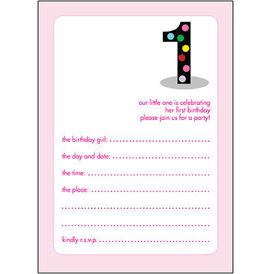 Pack of 10 Childrens Birthday Party Invitations, 1 Year Old Girl -BPIF-01