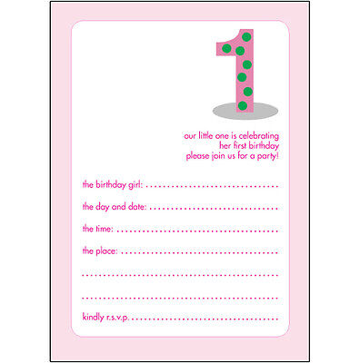 Pack of 10 Childrens Birthday Party Invitations, 1 Year Old Girl -BPIF-02