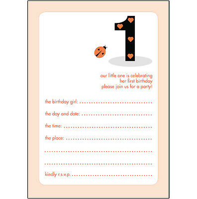 10 Childrens Birthday Party Invitations, 1 Year Old Girl - BPIF-07 Lady Bug