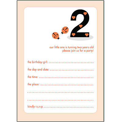 10 Childrens Birthday Party Invitations, 2 Years Old Girl - BPIF-08 Lady Bugs