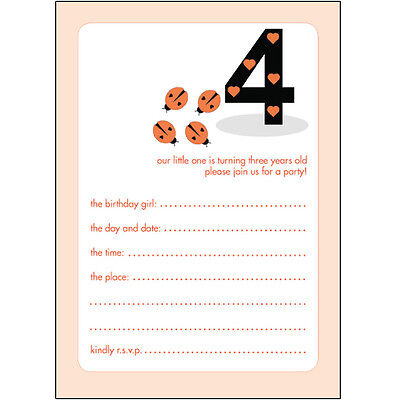 10 Childrens Birthday Party Invitations, 4 Years Old Girl - BPIF-10 Lady Bugs