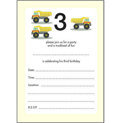 10 Childrens Birthday Party Invitations, 3 Years Old Boy - COOL - BPIF-13 Trucks