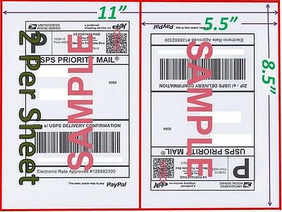 100 Shipping Labels Buy TWO get ONE FREE Blank Shipping Labels-2 Per Sheet Blank