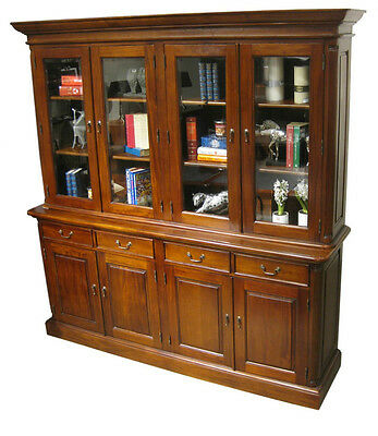 4 Door Bookcase Bookshelf Executive Office Furniture Mahogany