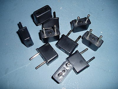 US to EU AC Power Plug Travel Converter / Adaptor -- Lot of 10 Plugs