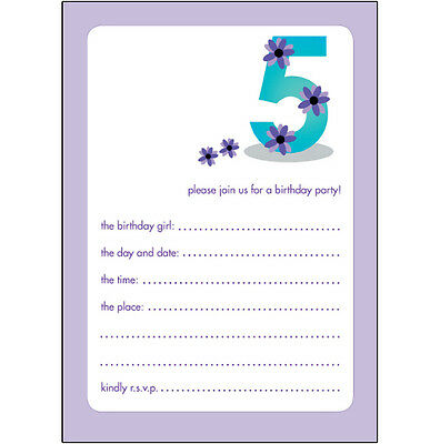10 Childrens Birthday Party Invitations 5 Years Old Girl - CUTE - BPIF-18 Purple