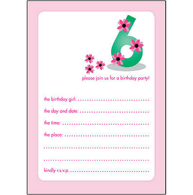 10 Childrens Birthday Party Invitations, 6 Years Old Girl  PRETTY!  BPIF-19 Pink