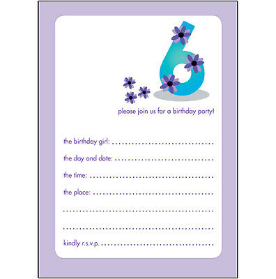 Pack of 10 Childrens Birthday Party Invitations 6 Years Old Girl  BPIF-19 Purple