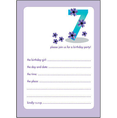 10 Childrens Birthday Party Invitations 7 Years Old Girl  CUTE!  BPIF-20 Purple