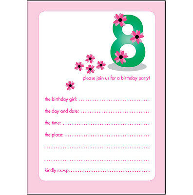 Pack of 10 Childrens Birthday Party Invitations, 8 Years Old Girl - BPIF-21 Pink