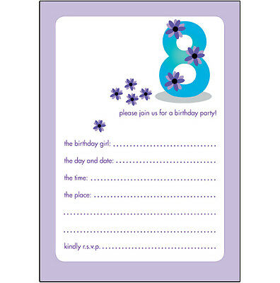 Pack of 10 Childrens Birthday Party Invitations 8 Years Old Girl  BPIF-21 Purple