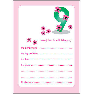 10 Childrens Birthday Party Invitations, 9 Years Old Girl - CUTE! - BPIF-22 Pink