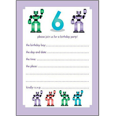 10 Childrens Birthday Party Invitations 6 Years Old Boy - NICE! - BPIF-25 Robots