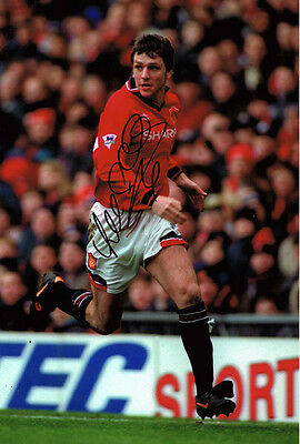 Lee Sharpe HAND SIGNED Manchester United 12x8 Photo AFTAL COA MUFC