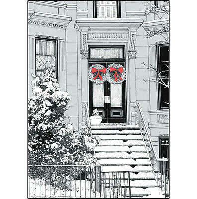 Pack of 10 New York City Christmas Cards - Brownstone Winter 1 - X05
