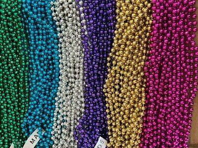 72 (6 Dozen) Multi-Color Mardi Gras Beads/necklaces-Free Shipping!-Party Favors