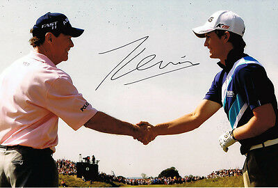 Tom Lewis HAND SIGNED 12x8 Photo with Tom Watson 2011 British Open Golf AFTAL