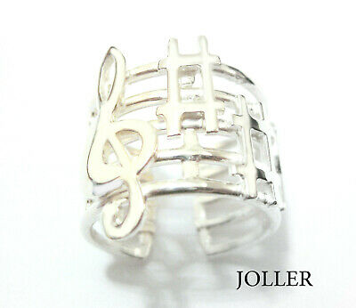 Ring Solid Silver Music Waves Swan Lake By Tchaikovsky Platinum By Joller