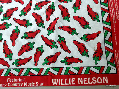 BANDANA Kerchief SCARF Cotton WILLIE NELSON Hot Peppers ROSS Concert 1996 TICKET