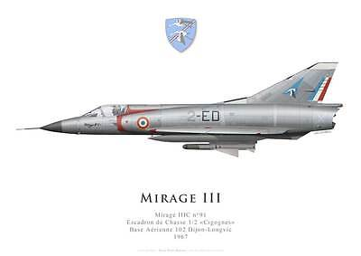 "Print Mirage IIIC, EC 1/2 ""Cigognes"", French Air Force (par G. Marie)"