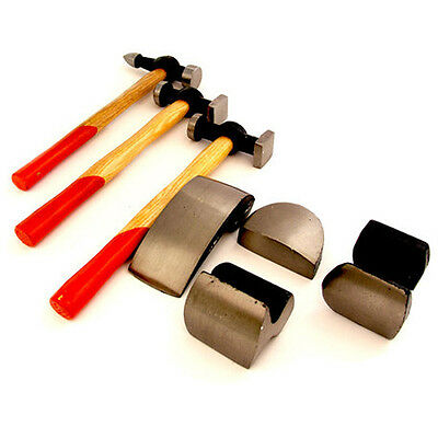 7Pc Car Auto Body Panel Repair Tool Kit With Wooden Handles Beating Hammers New