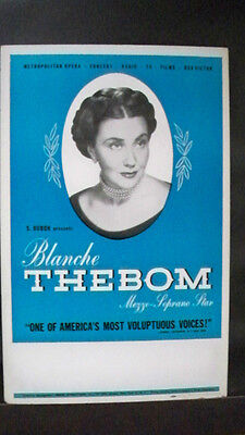 BLANCHE THEBOM Window Card S. HUROK Tour 1950s
