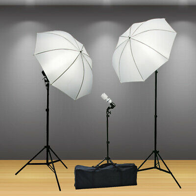 Continuous Photography Video 3 Studio Lighting Umbrella Stand Light Kit Case