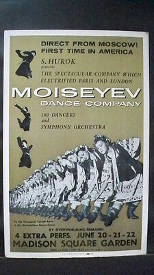 MOISEYEV DANCE COMPANY Window Card MADISON SQUARE GARDEN NYC 1st USA Visit 1958