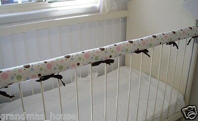1 x Baby Cot Rail Cover Crib Teething Pad Brown Pink Blue Green Spot  *REDUCED*