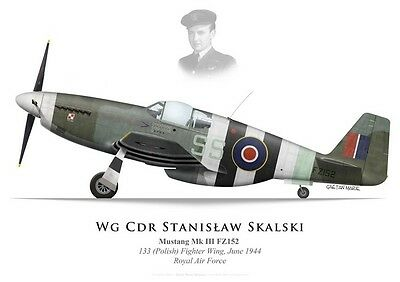 Print Mustang III, Wg Cdr S. Skalski, 133 (Polish) Fighter Wing RAF (by G.Marie)