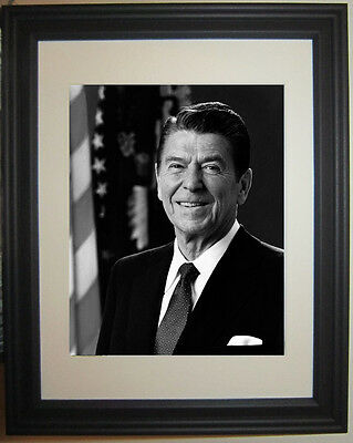 President Ronald Reagan B&W  Framed Photo Picture