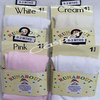 Baby Plain Close Knit Warm Tights White or Pink or Cream 3 Sizes 0-12 Months