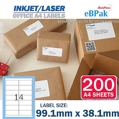 200 x 14 up 99.1 x 38.1mm Peel Paste Label A4 Office Mailing Address label 14UP