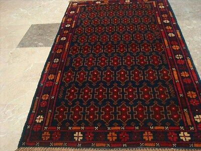 BALAUCHI TRIBAL NOMADIC AFGHAN HAND KNOTTED RUG 4.4x2.9 b62