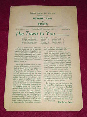 FOOTBALL - Edgware v Dorking - Sept 4 1957