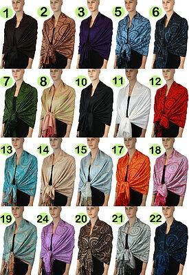 New Pashmina Scarf Shawl Wrap Cape Cashmere Silk Wool More Design & Color 110s_1