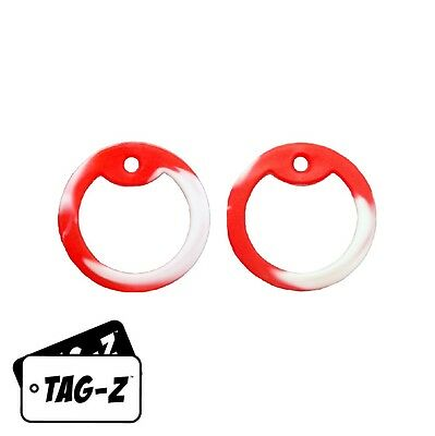 2 Red & White - Candy Cane Camo Dog Tag Silencers - GI Military Silencer - Tag-Z
