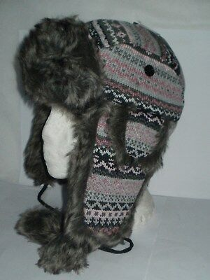 Womens trapper hat ski hat knitted outer POM POMS FAUX FUR TRIM PINK/GREY (835