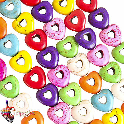 2 PERLE COLORATE CUORE 25x25 aulite sintetica CHARMS heart howlite beads