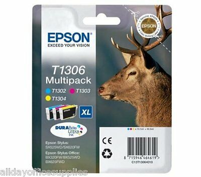 Epson T1306 Colour 1x Cyan T1302, Magenta T1303 and Yellow T1304 Multi Pack Ink
