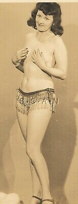 Original Vintage Nude RP- Pinup- Exotic Belly Dancer- Dark Hair- 1940s-1950s