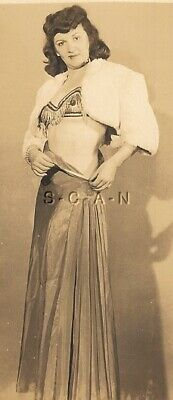 Original Vintage Nude RP- Exotic Pinup- Belly Dancer- Dark Hair- 1940s-1950s