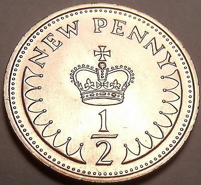Gem Unc Great Britain 1971 Half Penny~1st Year Ever Minted~Free Shipping